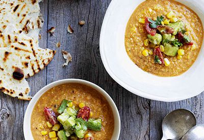 Mexican corn soup with avocado