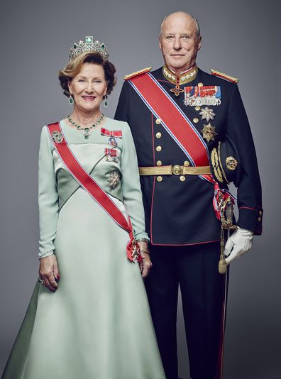 King Harald V of Norway and Queen Sonja of Norway pose for an official photograph in 2016 in Oslo, Norway.