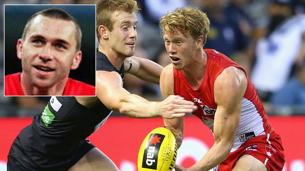 Callum Mills in action for the Swans and (inset) Paul Kelly. (Getty and AAP)