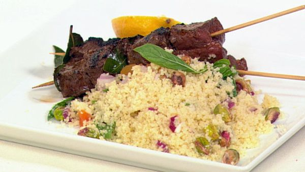 Barbeque beef kebabs with couscous salad