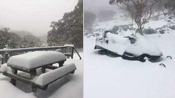 Mt Baw Baw has had an unexpected dump of fresh snow, beating out all Victorian mountains for the weekend, receiving over 25 centimetres (Supplied).