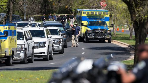 Police block off a neighbourhood to investigate the fourth bombing this month in Austin. (AP/AAP)