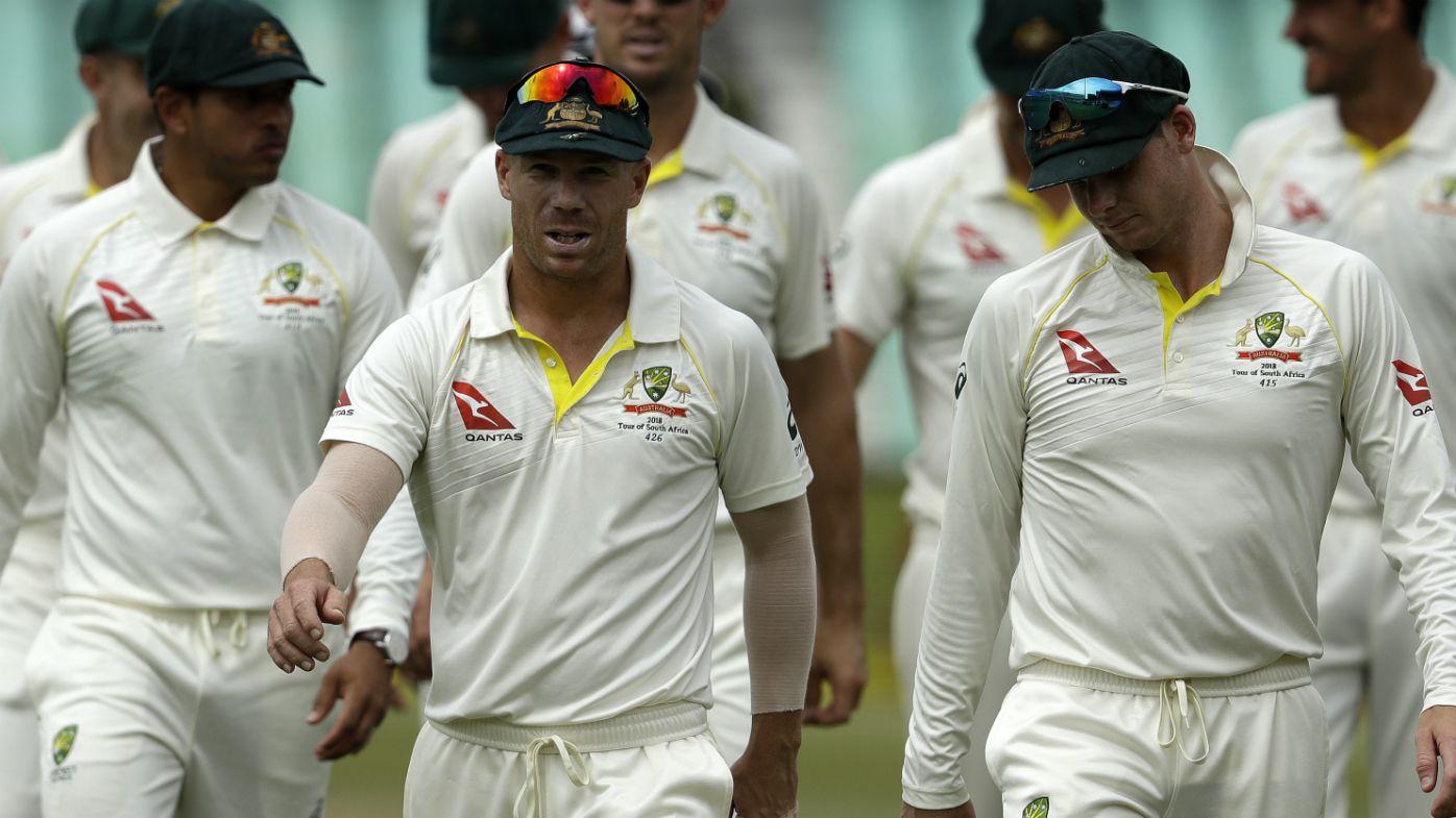 David Warner leads Australia off the field