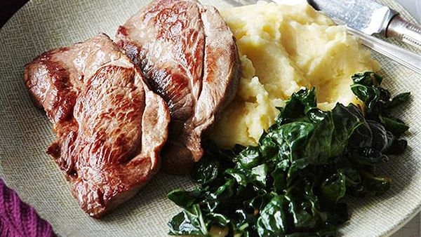 Lamb steaks with cheesy mashed potatoes and silverbeet