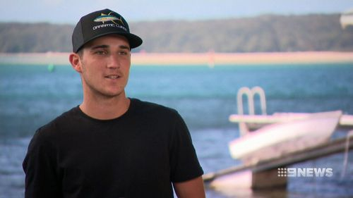 Jai Kiggins filmed the daring exploit with the help of brother Kurt while they were swimming at Wattamolla Beach in the Royal National Park.