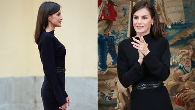 Queen Letizia wears black knit dress and black boots