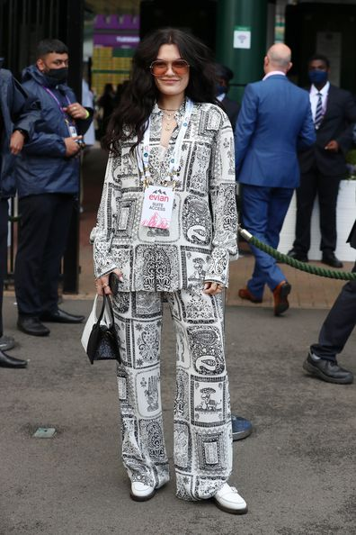 Jessie J attends Wimbledon Championships Tennis Tournament Day 8 at All England Lawn Tennis and Croquet Club on July 06, 2021 in London, England.