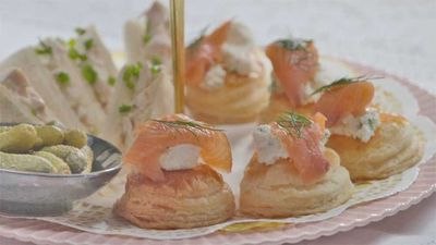 "Recipe: <a href=""https://kitchen.nine.com.au/2017/11/17/17/07/family-food-fight-the-butler-familys-salmon-and-goat-cheese-tarts"" target=""_top"">FFF's The Butler family's salmon and goat cheese tarts</a>"