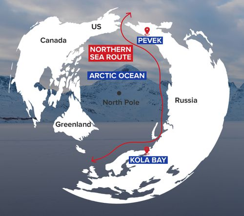 The Northern Sea Route is a series of shipping lanes in the Arctic, which have been opened by melting ice sheets.