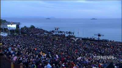 An estimated 10,000 people have attended the service at Anzac Cove. (9NEWS)