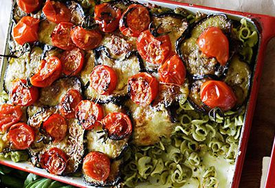 Eggplant and pesto baked pasta