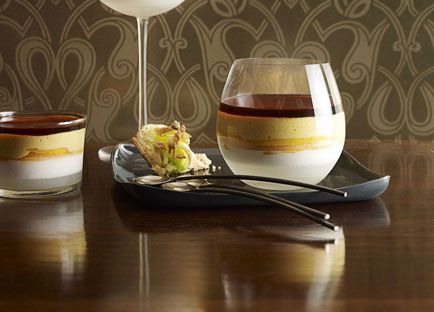 Martin Boetz: Young coconut jelly and burnt mango cream with pandanus macaroons
