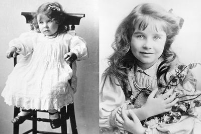 <b>Lady Elizabeth Bowes-Lyon</b>, better known as the <b>Queen Mum</b>, was born in 1900. On the left, she poses in her high chair, aged two. On the right, looking utterly adorable, the future wife of <b>King George</b> was photographed in 1907.