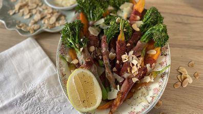 Jane de Graaff's prosciutto wrapped veggies with vinaigrette and toasted nuts