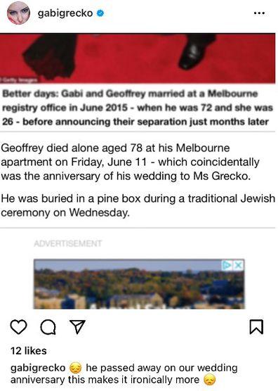 Gabi Grecko reveals Geoffrey Edelsten died on their wedding anniversary.