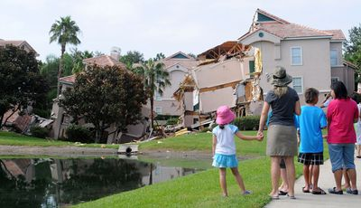 A large sinkhole devoured a resort villa in the US state of Florida (Getty).
