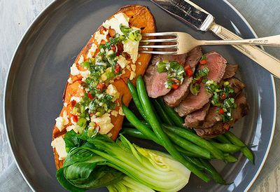 "Recipe: <a href=""http://kitchen.nine.com.au/2016/05/05/09/50/nadia-lims-chargrilled-rump-steak-with-fetaroasted-sweet-potato"" target=""_top"" draggable=""false"">Nadia Lim's chargrilled rump steak with feta-roasted sweet potato</a>"