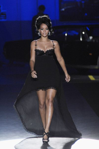 Rihanna in Dsquared2 on the runway at the brand's S/S '08 show at Milan Fashion Week in 2007