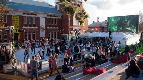 Crowds enjoying Perth's Christmas winter festival (Image: AAP)