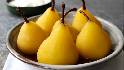 "Recipe: <a href=""http://kitchen.nine.com.au/2017/07/07/13/26/lynton-tapps-saffron-and-pink-pepper-poached-pears"" target=""_top"">Saffron and pink pepper poached pears</a>"