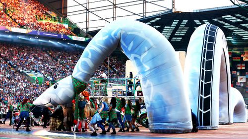 The Loch Ness Monster is one of the centerpieces of the opening ceremony of the Commonwealth Games in Glasgow. (Getty)