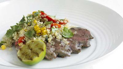 Chargrilled lamb backstraps with corn and capsicum quinoa
