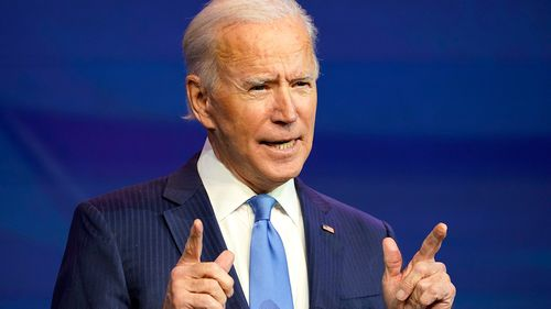 President-elect Joe Biden speaks during an event at The Queen theater in Wilmington, Delaware.