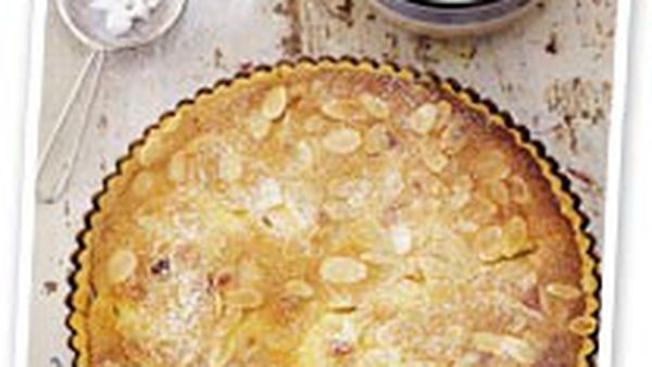 Pear and almond tart with choc sherry sauce