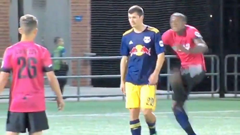 Footballer attacks rival with Kung Fu kick
