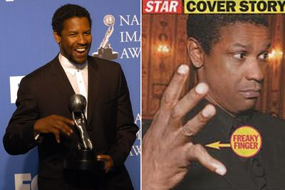 Denzel Washington's right pinky finger is bent at a 45-degree angle after he broke it playing basketball as a child and never got it set properly.