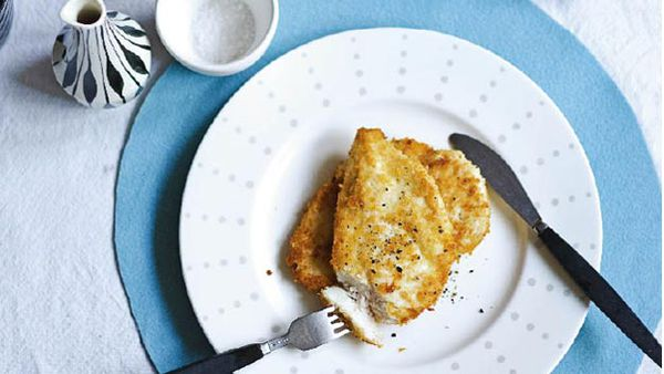 Parmesan-crusted chicken breast with roasted pumpkin