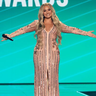 Demi Lovato speaks onstage for the 2020 E! People's Choice Awards on Sunday, November 15, 2020.