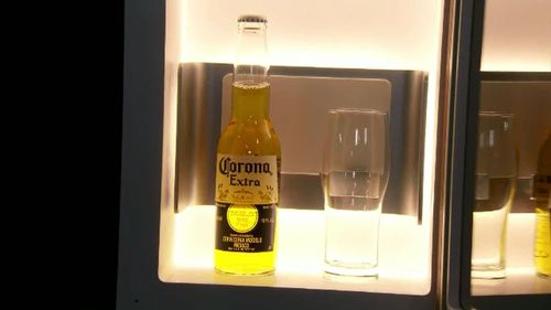 A self-stocking beer fridge which orders its own refills.