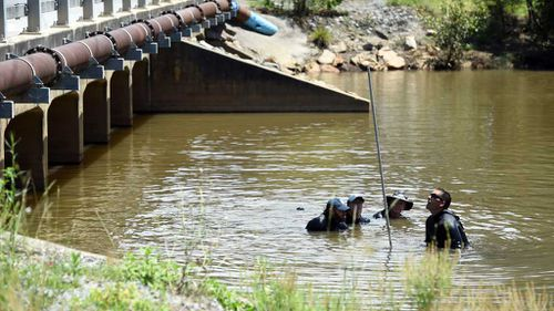 Police divers scour the Pimpama River for clues. (AAP)