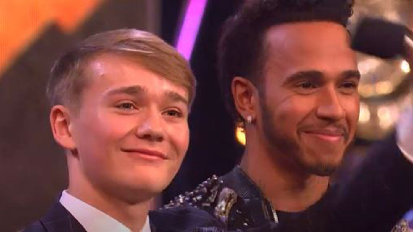 Billy Monger and Lewis Hamilton.