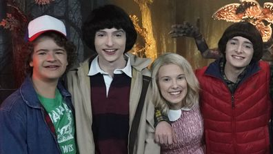 Gaten Matarazzo, Finn Wolfhard,  Millie Bobby Brown and Noah Schnapp,  Madame Tussauds, June 26, 2019, The Tonight Show With Jinny Fallon