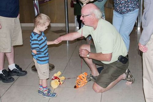 Boy missing one hand realises he's not alone after meeting grandfather