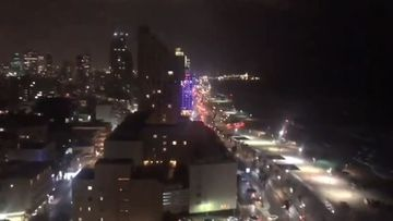 The Israel Defence Force shared video of the sirens being sounded in Tel Aviv.