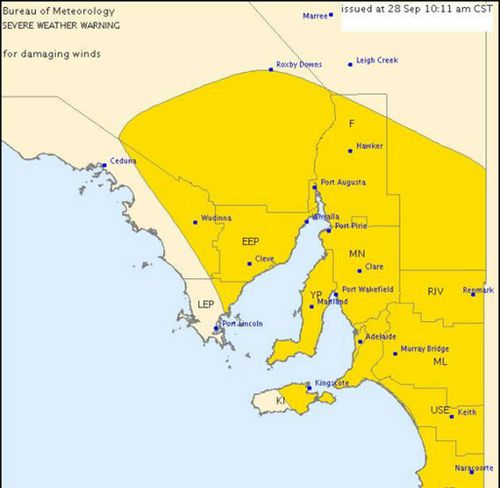 A severe weather warning has been issued for Adelaide and surrounding areas (marked in yellow). (Supplied, BoM)