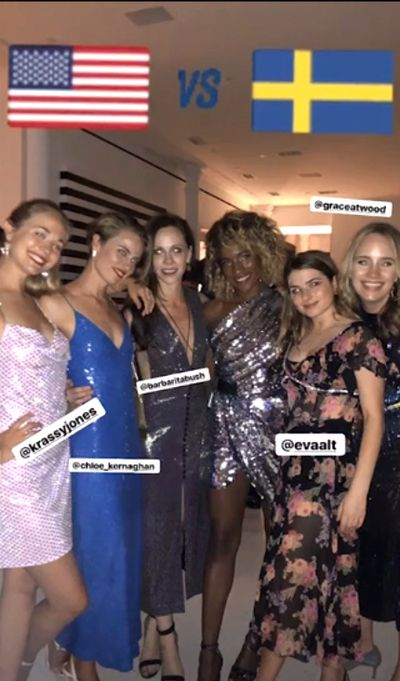 Barbara (third from left) poses with guests at her wedding after-party event, held in Tribeca, New York City, October 12.