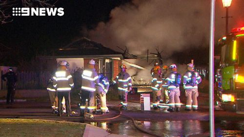 Fire crews at the scene this morning. Picture: 9NEWS