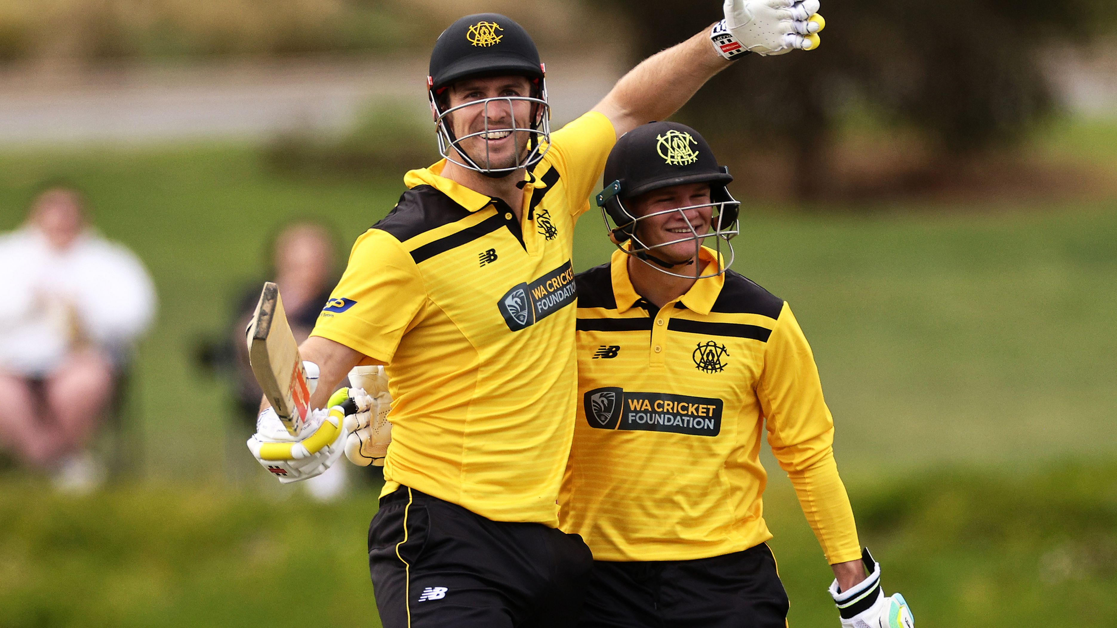 Mitchell Marsh of Western Australia celebrates after reaching his century during the Marsh One-Day Cup match between South Australia and Western Australia at Karen Rolton Oval.