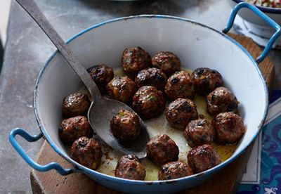 Meatballs and minted couscous
