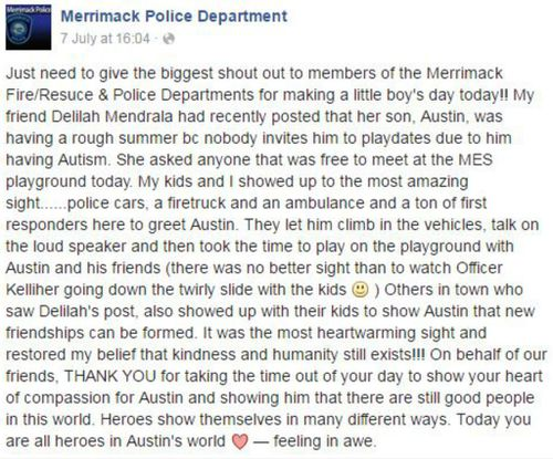 One mother took to Facebook to thank the Merrimack Police Department. (Facebook)