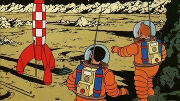 "The cover illustration for Tintin adventure ""Explorers on the Moon"", first published in 1954. (Hergé/Casterman)"