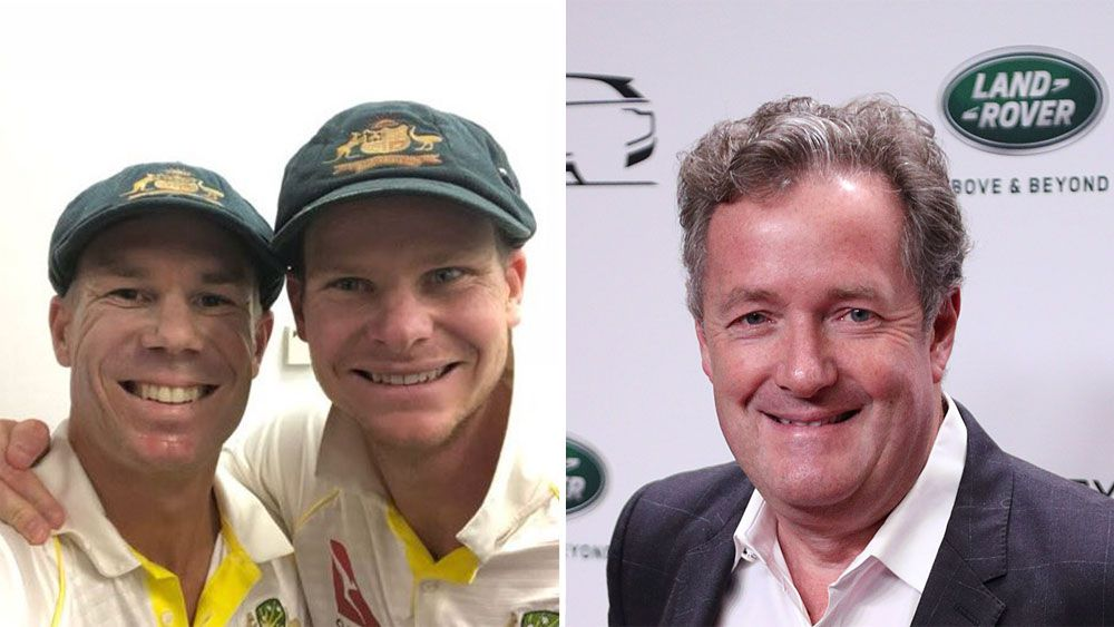 David Warner, Steve Smith and Piers Morgan.