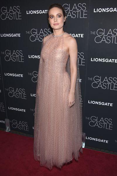 Brie Larson in Monique Lhuillier at the premier of <em>The Glass Castle</em>.