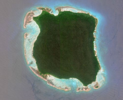 An aerial view of North Sentinel Island in the Bay of Bengal.