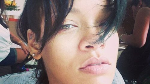 Rihanna posted this make-up free selfie. (Instagram)