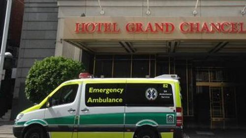 The body of a woman was discovered in a hotel room at the Grand Chancellor overnight. (9NEWS)